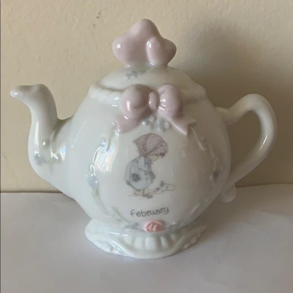 Precious Moments tea pot month of February